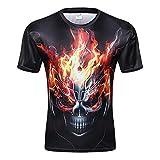 Skull 3D Print T Shirt Multiple Designs Short Sleeve Creative Fashion (CC0019, XXL)