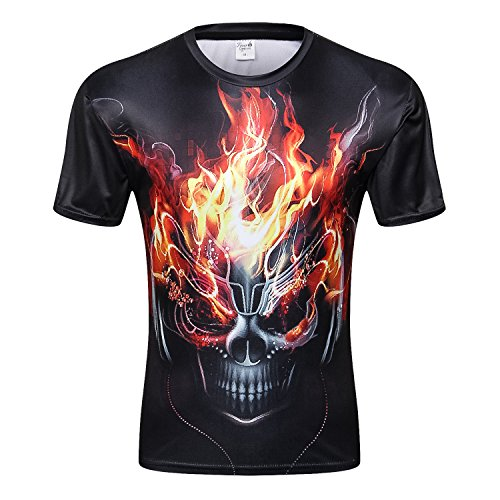 Skull 3D Print T Shirt Multiple Designs Short Sleeve Creative Fashion (CC0019, M) by Fever (Image #1)