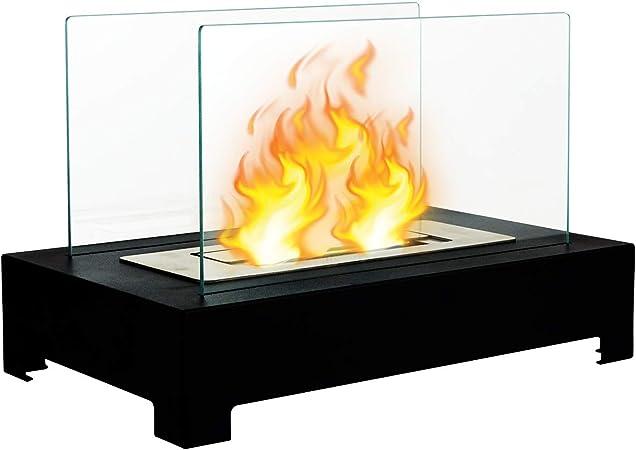 l/'éthanol-Cheminée Design Table Cheminée avec verre de sécurité intérieur et extérieur