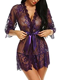 5224ce7376 Women s Kimono Eyelash Lace Robe Babydoll Lingerie Mesh Chemise Nightdress  Nightgown