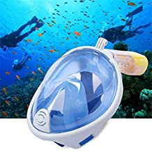 Foldable Tube Easy Breath Anti-Fog Anti-Leak Mask,Full Face Snorkel Mask, Ideal for Adults Youth (S/L, Blue)