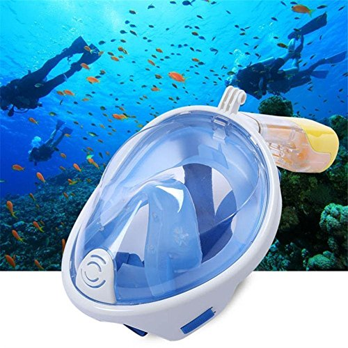 Diving Mask,MeiLiio Diving Mask Full Face Set Antifog and Anti-leak with 180º Degrees Viewing Area Easy Breath Foldable Adjustable Head Straps Snorkel Maskfor Adults Youth Kids (S/M,Blue) by MeiLiio