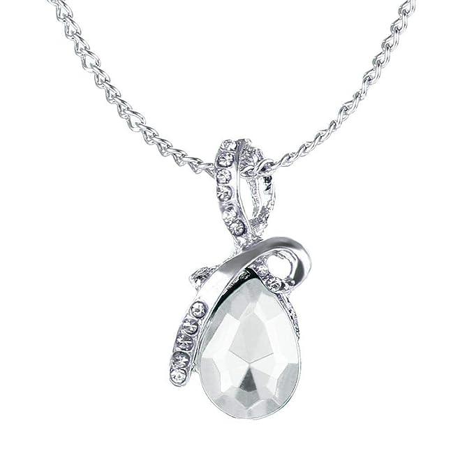 Collar elegante de cadena de plata con lágrima joyeria para regalo de boda.