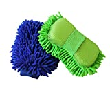 Inner Waterproof House Cleaning & Car Wash Mitt with Sponge Extra Large Chenille Microfiber Home Dusting Glove Kit 2-pack(1 Mitt and 1 Sponge)