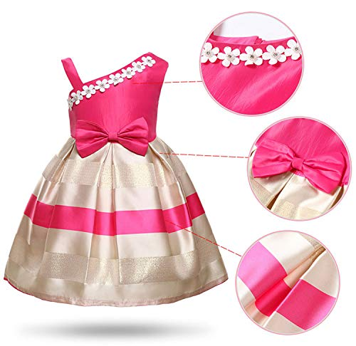 Balalei Flowers Stripe Princess Costume Sleeveless Baby Girls Dresses Wedding Party Kids Dresses for Girls Clothes,Red,4T -