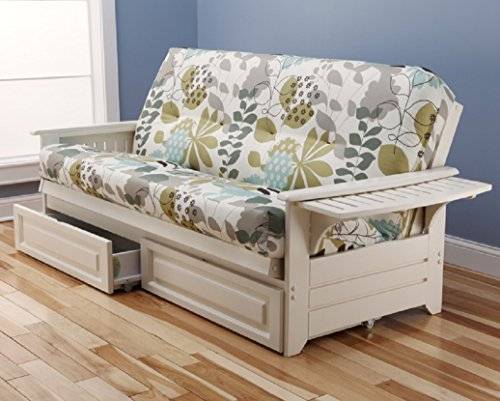 Philadelphia White Futon Frame w/ Trays w/ 8 Inch Innerspring Mattress Premium w/ Drawer Set Sofa Bed Full Size (English Garden) from Kodiak