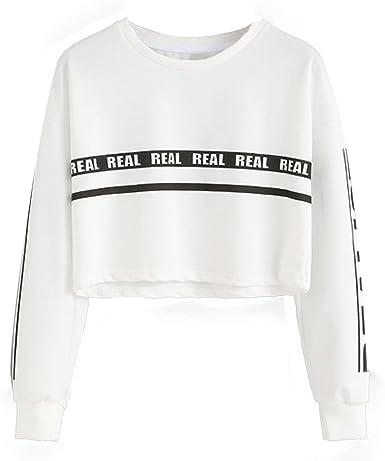Camisa Entrenamiento Mujer Moda Carta Blanca Imprimir la Cosecha Blusa Superior 2019 Type A: Amazon.es: Ropa y accesorios