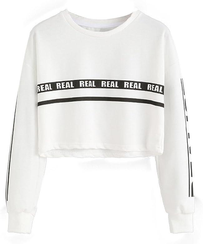 Mujer Sudaderas Cortas, Venmo 2017 Otoño Mujeres de Impresión Blanca Carta Cosecha Blusa Camiseta (S, Blanco): Amazon.es: Ropa y accesorios