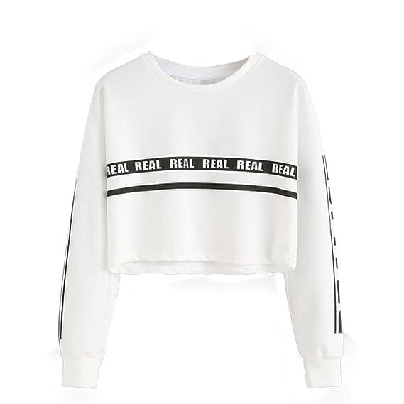SHOBDW Liquidación Venta Sudadera Corta de Moda para Mujer Blusa Estampada de Color Blanco Blusa Estampada