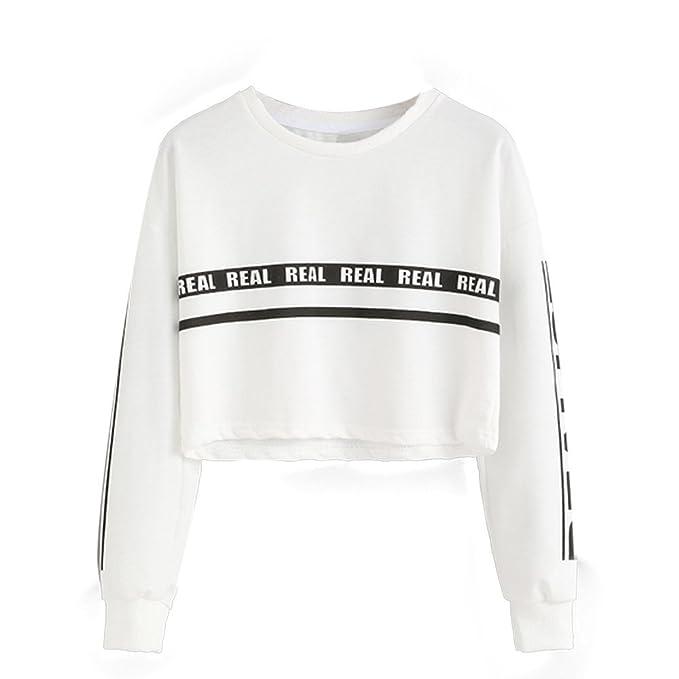 Mujer Sudaderas Cortas, Venmo 2017 Otoño Mujeres de Impresión Blanca Carta Cosecha Blusa Camiseta (