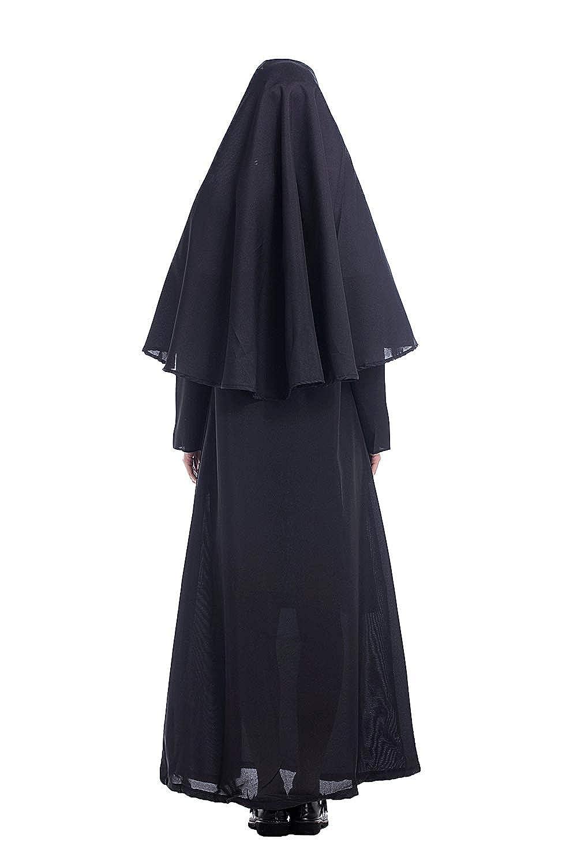 cultofmoon Disfraz De Monja para Mujer Pastor Cosplay Traje De Pastor Misionero Jesucristo Disfraz de Carnaval De Halloween S