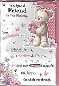 Amigo Tarjeta de cumpleaños ~ A un amigo especial en tu cumpleaños ~ oso y regalo de cumpleaños