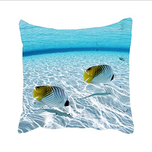 Ranhkdn On The Sea Pattern Cushion Cover Linen Linen Pillowslip Square Decorative Throw Pillow Case 24 x 24 inch