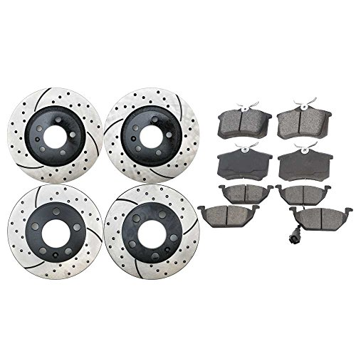 Prime Choice Auto Parts SCD768PR44145 4 Front and Rear Performance Brake Rotors and 8 Ceramic Brake Pads - Jetta Iv Parts