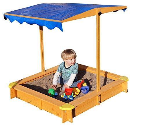 Sandkasten-mit-verstellbarem-Dach-inkl-Bodenplane-Sitzecken-und-Lasur