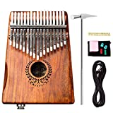 Natural Acacia Wood 17 Keys EQ Kalimba With Jack Song Book Tuning Hammer Pickup Carry Bag Thumb Piano Finger Piano Metal Engraved Notation Tines Kids Musical Instrument Gifts for Music Lover Beginners
