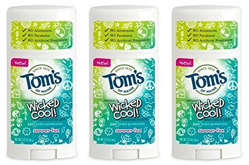 Tom's of Maine Natural Wicked Cool Deodorant for Girls Summer Fun 2.25 oz (Pack of 3) (Tom Natural Deodorant)