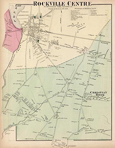 County Atlas | 1873 Rockville Centre, Hempstead Town, Queens, County. Long Island. | Historic Antique Vintage Map - Center Queens Map