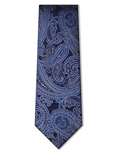 Origin Ties Classic 100% Silk Paisley Tie Navy Blue (Silk Paisley Tie)