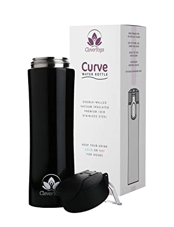 Clever Yoga Stainless Steel Water Bottle - Double Wall Vacuum Insulated Bottles - Thermal Flask Keeps Drinks Hor or Cold - Leak and Sweat Proof - 15oz