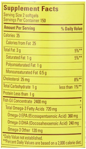 031604025861 - Nature Made 1200mg of Fish Oil, 2400 per serving, 360mg of Omega-3, 300 Softgels carousel main 1