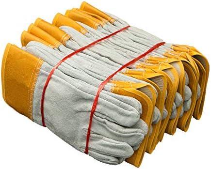 労働保護作業用手袋 男性用作業用革手袋脱皮防止厚手の耐摩耗性溶接手袋、12ペア (Color : Yellow, Size : XL)