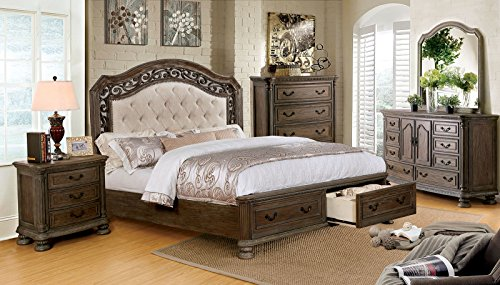 PERSEPHONE Formal Traditional Stylish Elegant Majestic Rustic Natural Tone Finish California King Size Bed w Drawers FB Matching Dresser Mirror Nightstand Intricate Wood Carving Bedroom 4pc Set