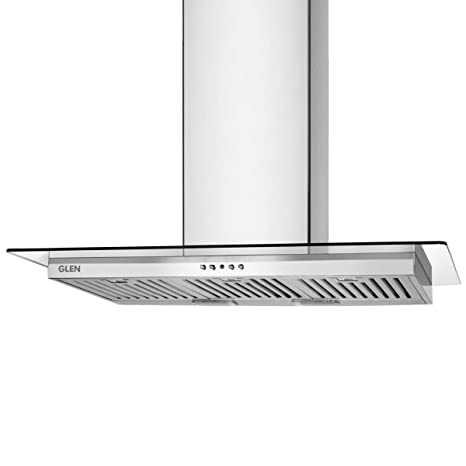 Glen 90 cm 1250 m3/hr Chimney (6062 Straight Glass, 3 Baffle Filters, Stainless Steel)