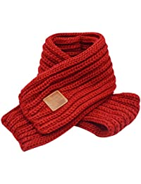 Queena Kids Soft Warm Knitted Scarf Solid Color Toddler Neck Warmer,Wine Red