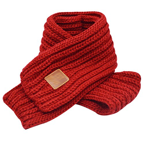 CLARA Kids Winter Warm Knitted Scarf Toddlers Solid Color Neck Warmer Wrap Wine Red