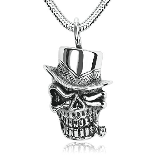 Mini Gothic Black Hat With Red Rose (Aooaz Mens Stainless Steel Pendant Necklace Smoking Skull with Hat Punk Gothic 4x2.3CM Silver Black)
