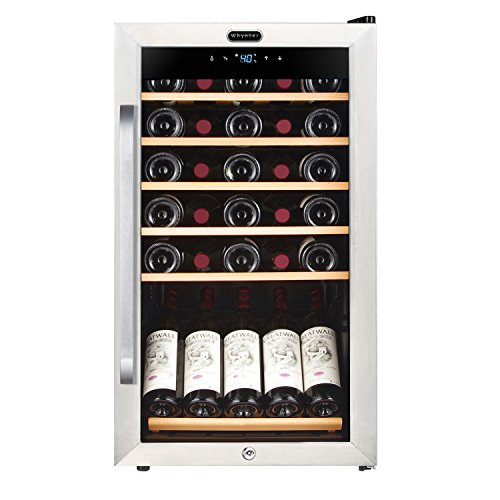 Whynter FWC-341TS 34 Bottle Freestanding Wine Refrigerator with Display Shelf and Digital Control, Stainless Steel (34 Bottle Wine Cellar)