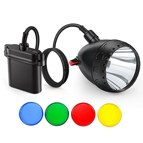 Kohree Dimmable Hog Coyote Coon Hunting Light 10W Cree LED Rechargeable Predator Hunting Mining Headlight with Switch Knob,4 Optical Filters, Charger kit