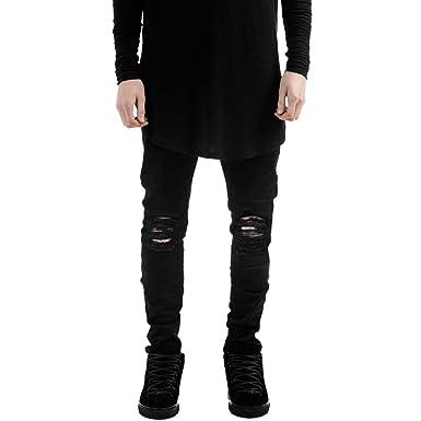 Laemilia Homme Pantalons Denim Trou Biker Jeans Skinny Cargo