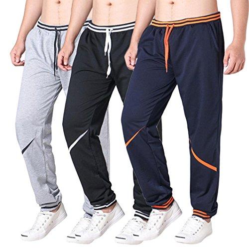 (AMSKY❤ Men's Trousers,Men Slacks Casual Active Running Workout Bodybuilding Elastic Joggings Sport Baggy Pockets Sweatpants (2XL, Black) )