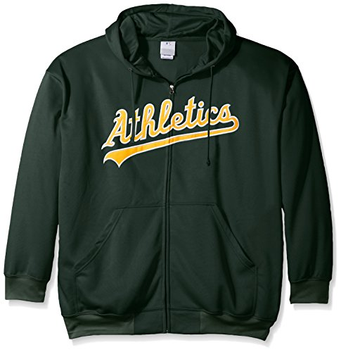 Profile Big & Tall MLB Oakland Athletics Men's Full Zip Poly Fleece with Wordmark Chest with Logo Near Pocket, 3X, Dark Green