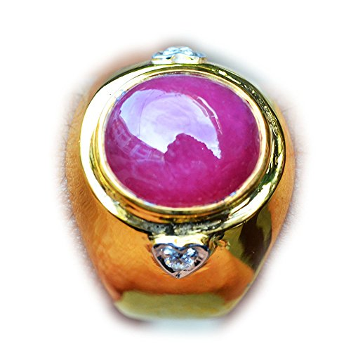 46.92ct Natural Cabochon Red Ruby 925 Gold Silver Ring 9.5US Madagascar ()