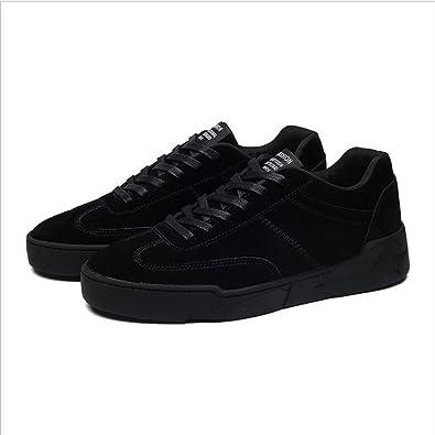 Shoes Mens Casual Shoes Lace-up Shoes Fashion Deck Shoes (Color : Black Size : 42)