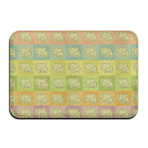 AngelEvan Pretty Doormat Cute Elephants Front Door Entrance Doormat Washable Carpet