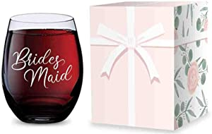 Stemless Wine Glass for Bridesmaid Gifts - Made of Unbreakable Tritan Plastic and Dishwasher Safe - 16 ounces