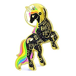 Unicorn Enamel Pin Astronaut Black Unicorn In a Space Suit Colorful Lapel Pin