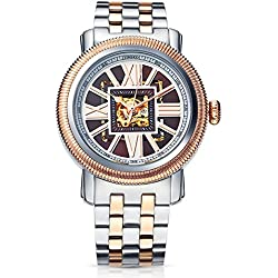 Time100 Fashion Skeleton Automatic Self-Wind Mechanical Steel Men's Watch #W60055G.03A