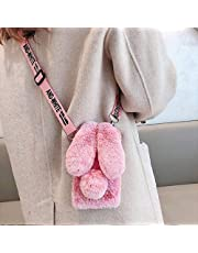 Ogmuk Fluffy Furry Case for Samsung Galaxy S20 FE,Women Girls Stylish Winter Warm Cute Rabbit Fur Bunny Ears Fuzzy Soft Plush Diamond Silicone Case with Adjustable Crossbody Strap Lanyard,Frost Red