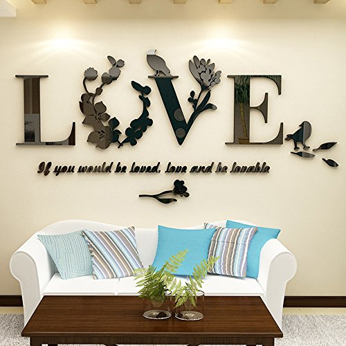 Landfox Wall Stickers Stylish Removable 3D Leaf Love Wall Sticker Art Vinyl Decals Bedroom Decor Black