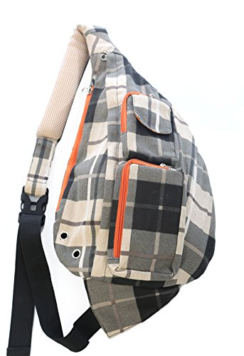 Meru Sling Backpack Bag - Small Single Strap Crossbody Pack for Women and Men (Plaid) by Meru