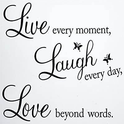 OrliverHL Vinyl Decal Live Every Moment, Laugh Every Day, Love Beyond Words Wall Quote