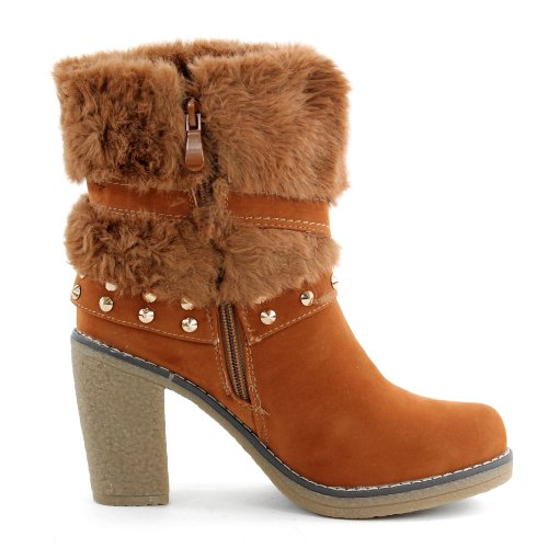 Stiefeletten Damenschuhe Stiletto High Heels Schuhe Veloursleder Optik Z8242-GA, Präzise Farbe:Camel;Schuhgröße:EUR 39