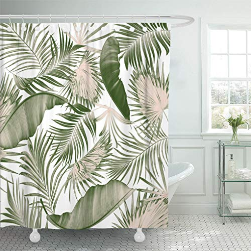 - Emvency Shower Curtain Black Leaf Green Leaves of Palm Tree on White Shower Curtains Sets with Hooks 72 x 72 Inches Waterproof Polyester Fabric