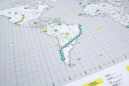 Mapnético Mapamundi magnético de diseño con imanes. Señala Tus Viajes por el Mundo. 60×42 cm: Amazon.es: Hogar
