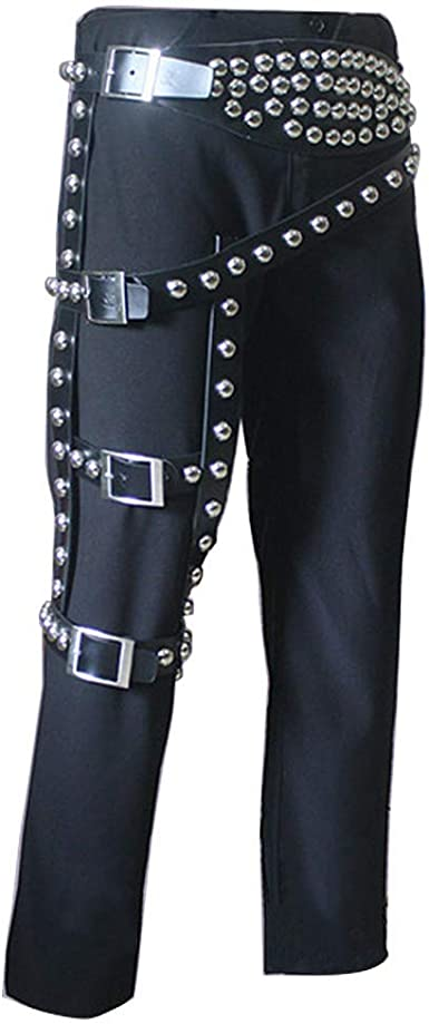Michael Jackson Bad Jam Pants With Classic Leg Belt Punk Rivet Metal For Performance Show Pants 33 Amazon Ca Clothing Accessories